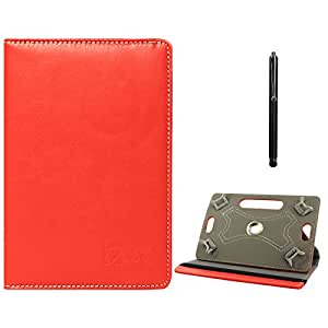 DMG Protective Flip Book Cover Stand View Case for Mitashi Sky Tab 2 (Red) + Capacitive Touch Screen Stylus