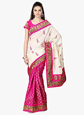 Janasya Women'S Silk Saree (Jne0333,Pink ,Free Size)