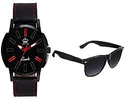 LimeStone Round Casual Analog Black Leather Strap & Black Dial Men's / Boy's Wrist Watch with Aviator Sunglass - LS2624+007