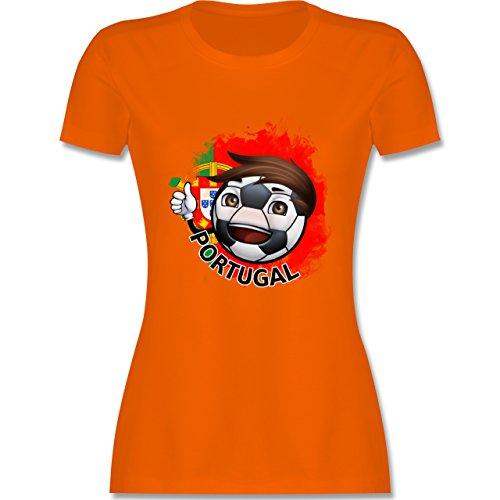 EM 2016 - Frankreich - Fußballjunge Portugal - tailliertes Premium T-Shirt mit Rundhalsausschnitt für Damen Orange
