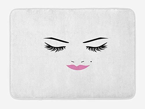 Wimpern Badematte, Augen geschlossen Rosa Lippenstift Glamour Make-up Kosmetik, feminines Design, Plüsch-Badteppich mit Rutschfester Halterung, Schwarz-Weiß-Fuchsie -