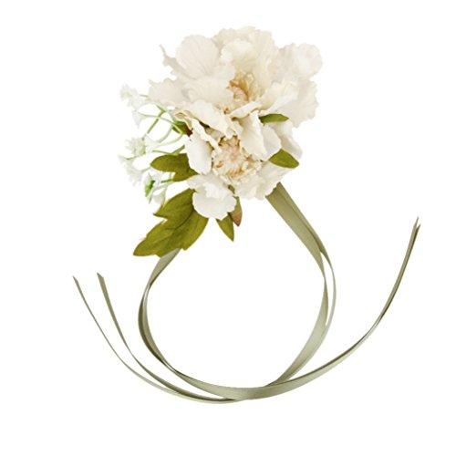 Winomo damigelle d'onore spose da polso corsage fiore di seta stretch di nozze rosa fiore