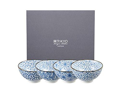 Tokyo Design Studio, Bol en porcelaine motif Kristal - Coffret de 4, Diamètre: 12.0cm