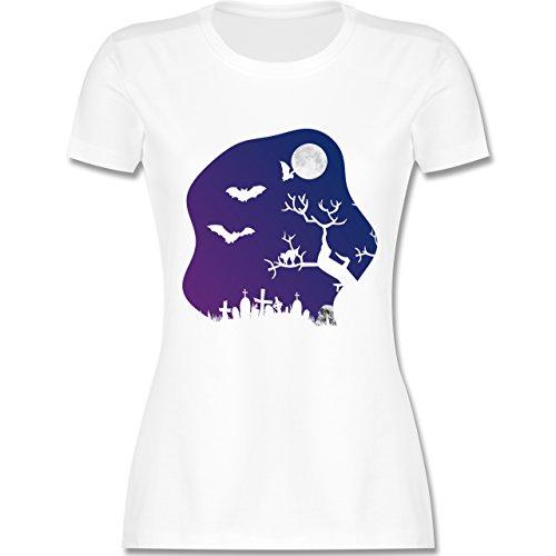 Halloween - Friedhof gruselig Totenkopf Mond - tailliertes Premium T-Shirt  mit Rundhalsausschnitt für Damen