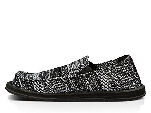 Sanuk Mens yew-Knit Loafer Black/White