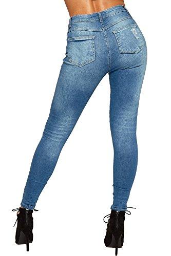 Wearall - Damen Ripped Bekümmert Dünn Bein Stonewashed Denim Damen Jeans - 34-42 Indigo Blau