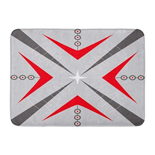 ghkfgkfgk Doormats Bath Rugs Outdoor/Indoor Door Mat Gray 1940Sstyle Mid Century Modern 1950S Vintage Retro Atomic Pattern Red 1950Sstyle Bathroom Decor Rug 23.6 x 15.7 Inch -