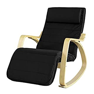 SoBuy New Comfortable Relax Rocking Chair with Footrest Design, Lounge Chair Recliner (FST16-SCH)