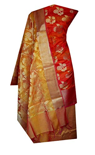 Nakshatra Multicolor_Banarasi Chanderi Silk Fabric Latest Design Party Wear Unstitched Dress Material of Salwar Suit for Women