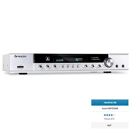 auna AMP-2540-S • 5.1-Kanal Surround Receiver • Heimkino-Verstärker • 400 Watt maximale Leistung • UKW-Radio • Master-Equalizer • 2 x Cinch- und 1 x Klinke-Eingang • 2 x Mikrofonanschluss • regelbare Mikrofon-Lautstärke • Fernbedienung • silber (400 Watt 4 Kanal Amp)