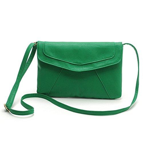ESAILQ Sacoche à bandoulière en soie pour femme Sac à main vintage à la main Nouveau (vert)