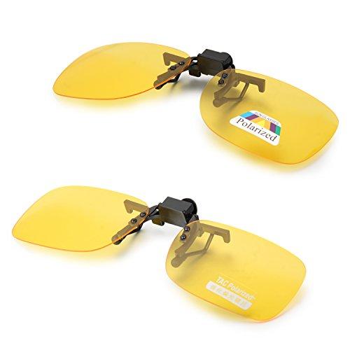 Aroncent UV400 Sonnenbrillen Vorhänger Brille Aufsatz Clip On Polarisiert, 2 Größe, Gelb