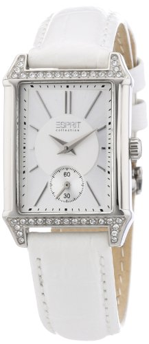 Esprit Damen-Armbanduhr Alke white Analog Quarz Leder EL101992F02