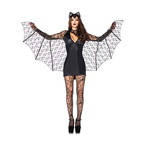 (YaXuan Halloween Kostüm Dämon Bat Hexe Kostüm Cosplay Uniform Weiblichen Fledermaus Halloween/Karneval Festival/Urlaub Halloween Kostüme (Farbe : Schwarz, Größe : M))