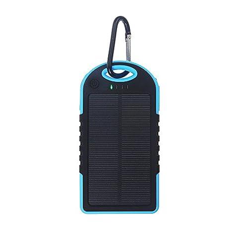 Lugii Cube banque de puissance de batterie externe avec LED Lumière solaire universel Power Bank 5000mAh Haute Capacité chargeur solaire double USB Portable, bleu