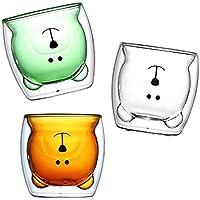 Vaso de cristal, vaso de cristal doble, café concentrado, té, leche y regalo de cumpleaños personal (3 artículos)