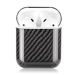 Ceepko Airpods Case Ultraleicht Kohlefaser 2019 Neuestes Airpods Hülle Mit Airpods Zubehör, Airpods Schutzhülle Für AirPods 1 Aufladen Case(Schwarz)