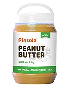 Pintola All Natural Peanut Butter (Creamy) (2.5 kg) (Unsweetened, Non-GMO, Gluten Free, Vegan)