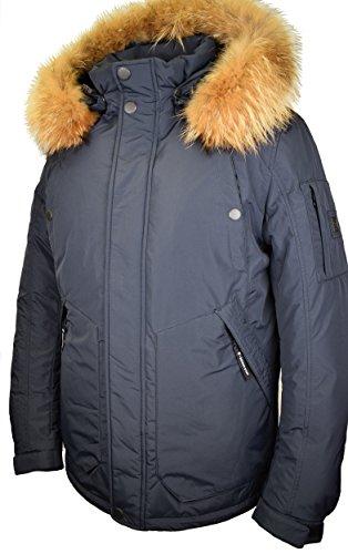 G131D Herren Daunenjacke SNOWIMAGE mit Echtfell Kapuze (Länge: 78 cm) Daunenparka Winterparka lang Outdoor realfur man padded coat Blau