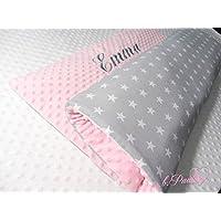 Graue Babydecke Sterne Kuscheldecke Decke mit Name Sterne baby Bettdecke und Kissen Neugeburt Decke Personalisiert Neugeborene Decke rosa Babydecke