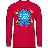 Statement Shirts - Du hast es aus dem Bett geschafft - 3XL - Rot - BCTU005 - Herren Langarmshirt