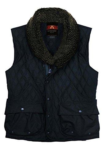 gesteppte Weste in schwarz und dunkelblau aus gewachster Baumwolle warm gefüttert, wasserabweisend und atmungsaktiv Dunkelblau