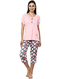 Nightwear for Women - Night Suit - Summer Wear - Top   Capri Combo Set -  Sinker Material - Pink and Grey… 379bfceb6