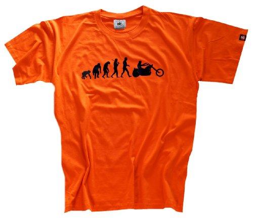 Shirtzshop Erwachsene T-Shirt Original Chopper Motorrad Evolution, Orange, XXXL, sshop-evochopp-t