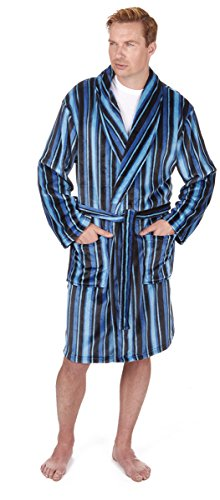 Pierre Roche Mens Dressing Gown Robe Nightwear Flannel Fleece Shawl Collar Soft