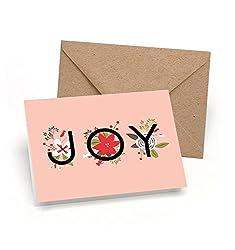 Set von 12Weihnachten Karten-einfach Joy-NEUE für 2016.-12weiche Pink Weihnachten Karten + Kraft Umschläge-von Palmer Street Press
