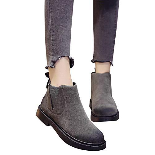 MYMYG Frauen Chelsea Boots Round Toe Schuhe Flache Booties Slip-On Wildleder Einfarbig Schuhe Stiefel Madeline Western Mandel Runde ()