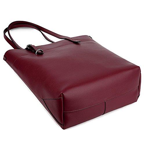UTO Damen PU Leder Shopper modern gross Capacity Schultertasche Handtasche schwarz_ rot_