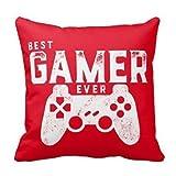 AEser Housse de coussin lin et coton carrée 45 x 45 cm Best Gamer Ever pour geek