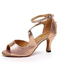 misu - Zapatillas de danza para mujer Negro negro / plateado, color Dorado, talla 36.5