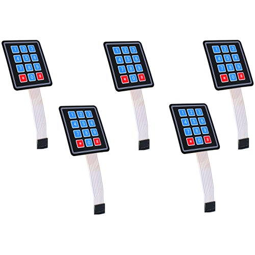 Optimus Electric 5pcs 3x4 Membrane Switch Matrix Keypad Thin and Flexible with Cable Connector and Adhesive Back for Easy Surface Attachment from (Light Custom Switch)