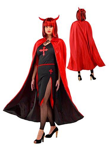 Umhang Cape Robe Rot Schwarz Teufel Vampir für Erwachsene Cape Kostüm Verkleidung Herren Damen