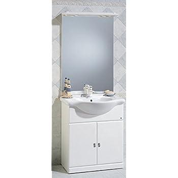 Mobile Arredo Bagno Cleo da cm 75 bianco lucido con lavabo in ...