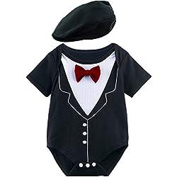 3c80c3690 A J Design Bebé Niño Gentilhombre Bodysuit con Sombrero (Rojo