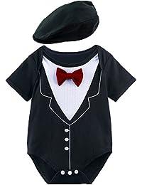 A&J Design Bebé Niño Gentilhombre Bodysuit con Sombrero