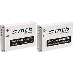 2x Batterie NB-1L/NB-5L pour Canon PowerShot SX200is, SX210is, SX220HS, SX230HS. Voir Liste.