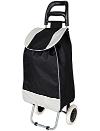 KriShyam Folding Essential Shopping Trolley-Luggage-Bag-With-2 Wheels (Only Any 1 Pcs Trolley & Bag) (Black)