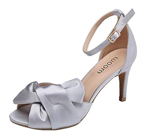 Womens Ladies Satin Bow High Heel Peeptoe Fashion Party Bridesmaid Evening Sandals Shoes - E64 (UK 3 / EU 36,