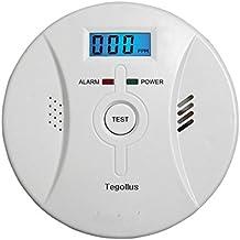Tegollus - Detector de monóxido de carbono, alarma con pantalla digital electroquímico, sensor, pantalla digital, alerta de voz y batería de repuesto, Smoke and CO Alarm, 2