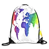 tgkze Drawstring Backpack Gym Bag Travel Backpack Watercolor World Map Print Earth In Rainbow Colors Hand Small Drawstring Backpacks for Women Men Adults