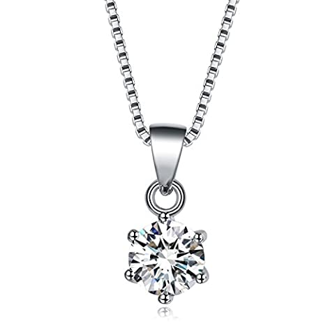 UMODE Jewellery 925 Sterling Silver Cubic Zirconia CZ Solitaire Pendant Necklace Box Chain 17.5