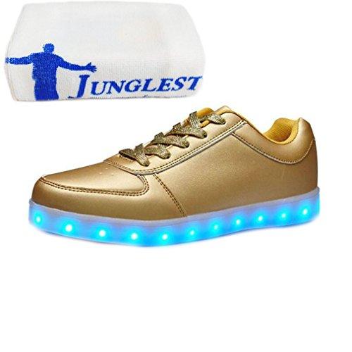 [Présents:petite serviette]JUNGLEST® KE Unisexe Multicolor USB Rechargeable Etanche 11 Chaussures Led Lumière Nuit Courir Chaus golden
