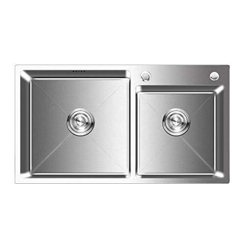 ADWN Edelstahl Double Groove Bowl Kitchen Sink Reversible großen Raum mit Wasserhahn Rechteck gebürstetem Waschbecken -