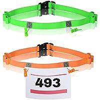 TAZEMAT 2pcs Cinturón para Número de Carrera Maratón Triatlón Unisex Portadorsal para Competición con 6 Espacios para Gel Ajustable Talla Única Color Verde y Naranja Porta Dorsal para Ciclismo