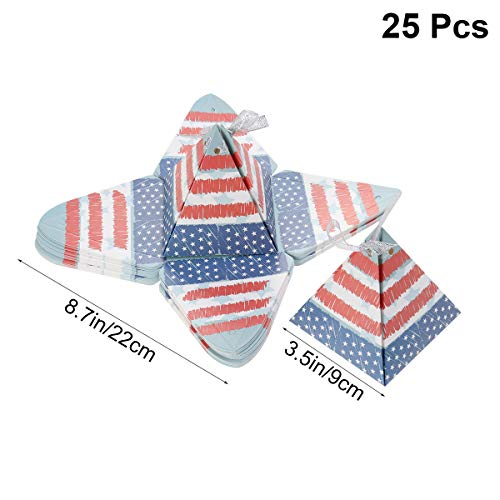 merikanische Süßigkeitskästen Amerikanische Flagge Pyramide Zuckerdosen Papier Süßigkeiten Boxen für Party Geburtstag Hochzeit Unabhängigkeitstag ()
