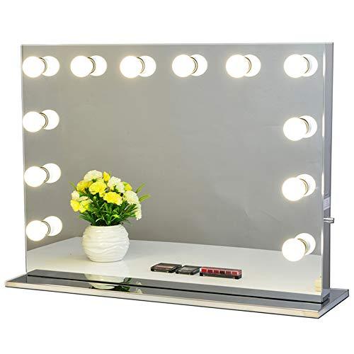 Chende Rahmenlos Hollywood Schminkspiegel mit Beleuchtung Bühne Kosmetikspiegel, Schönheit Theaterspiegel groß, LED beleuchtet schminktisch Spiegel, Freie Glühbirnen (80cm X 60cm, Rahmenlos)